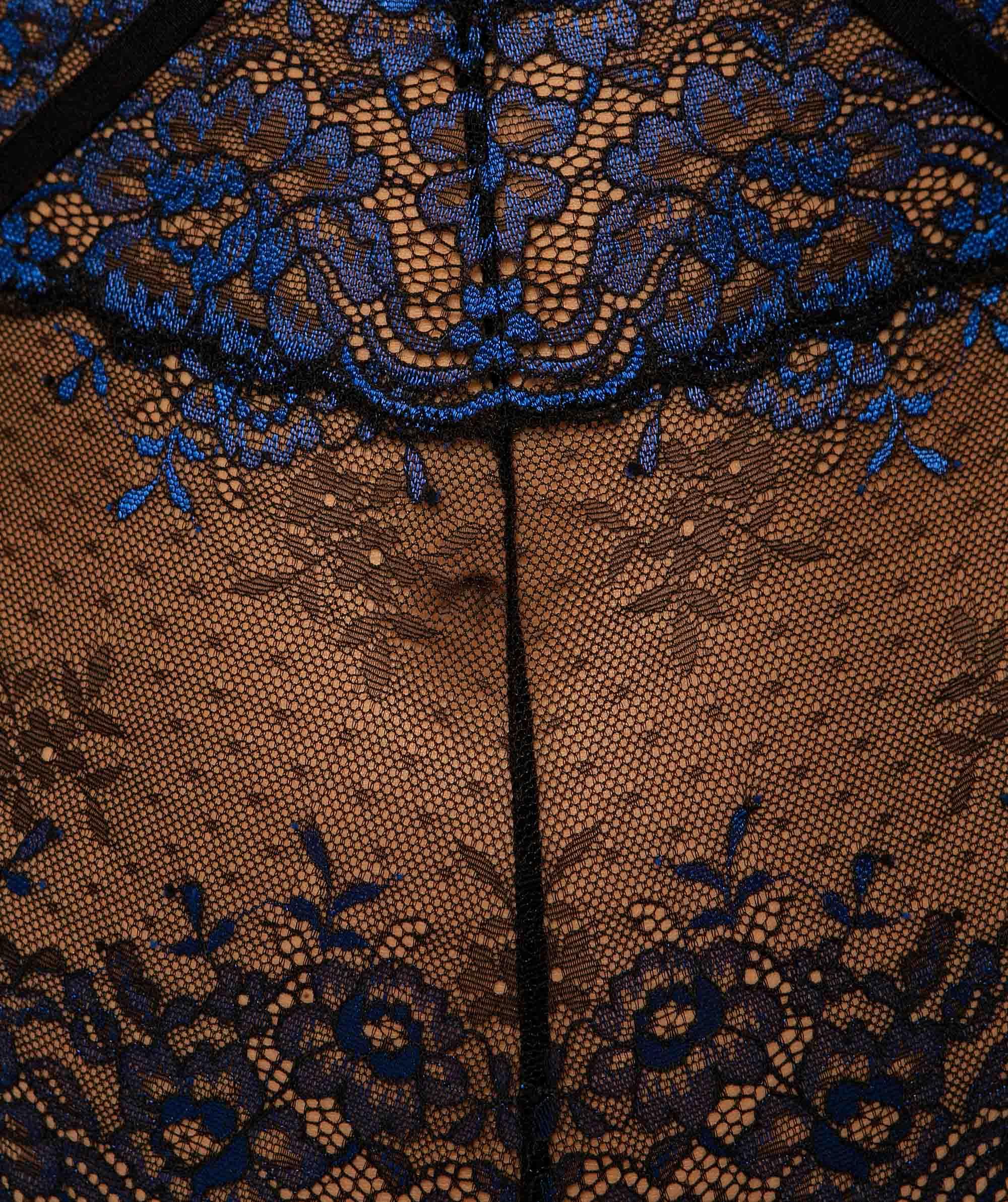 Art Deco Underwire Bodysuit - Black/Cobalt