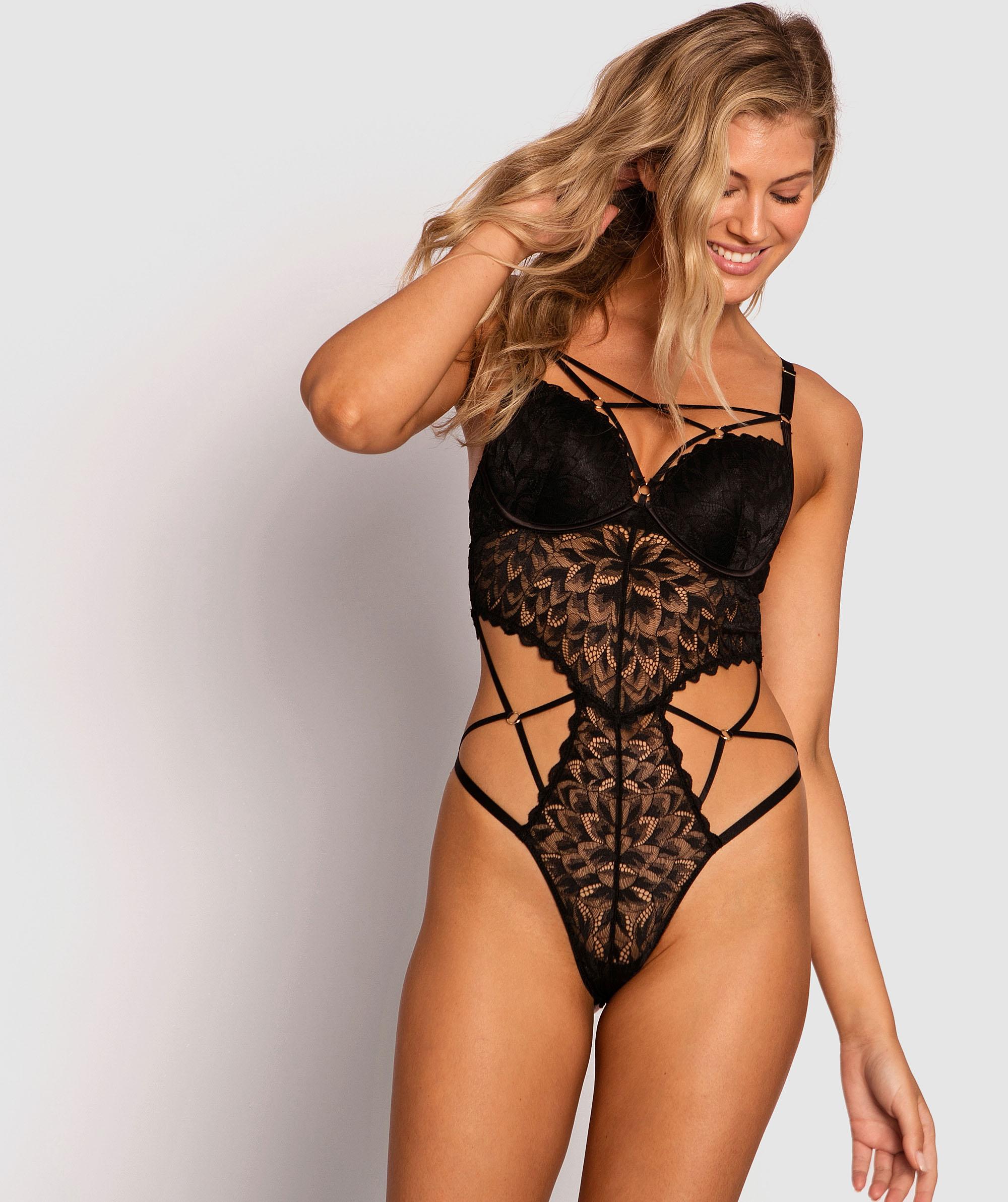 Temptation Push Up Bodysuit - Black
