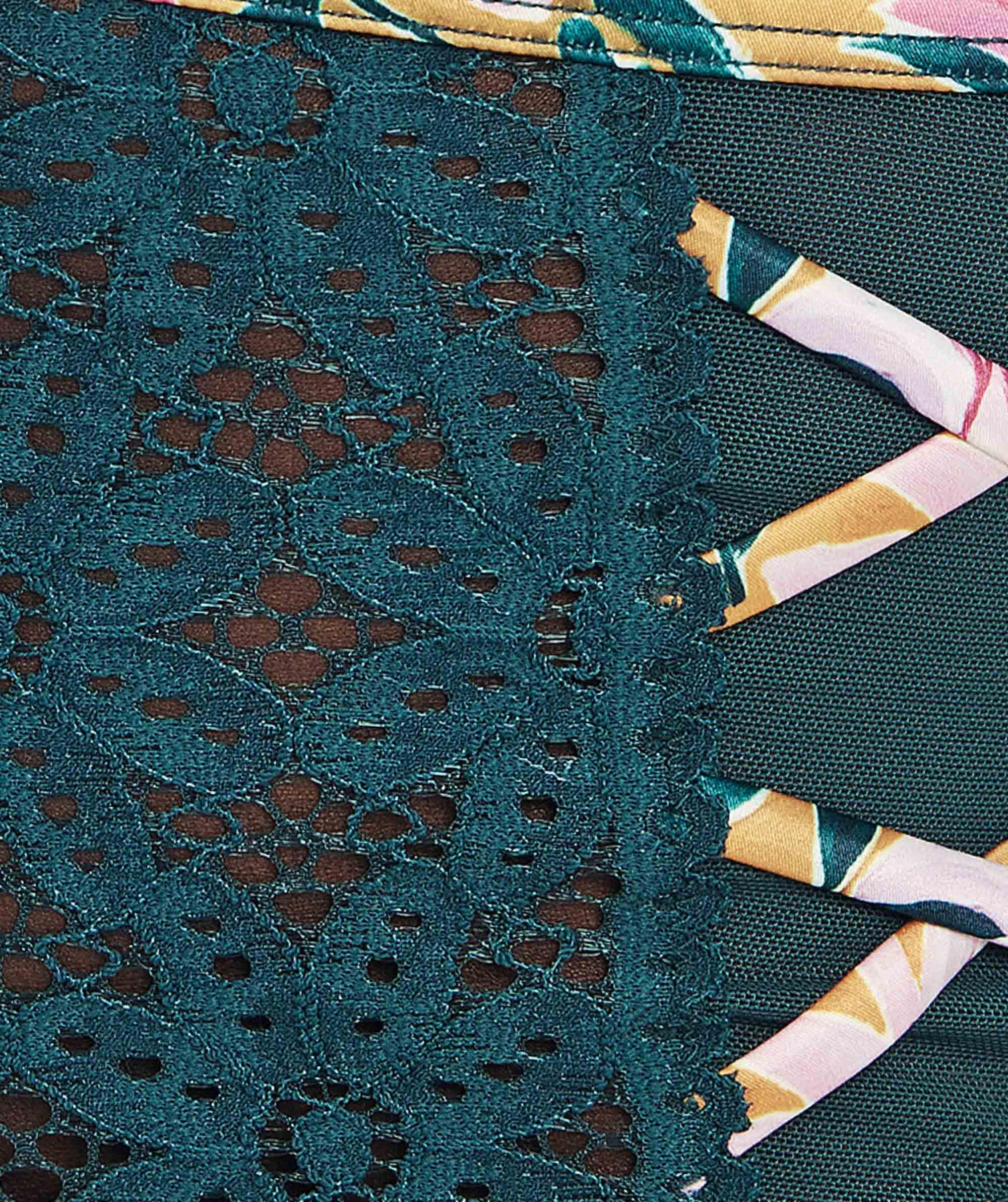 Saint Tropez High Waisted V-String Knicker - Teal/Floral Print