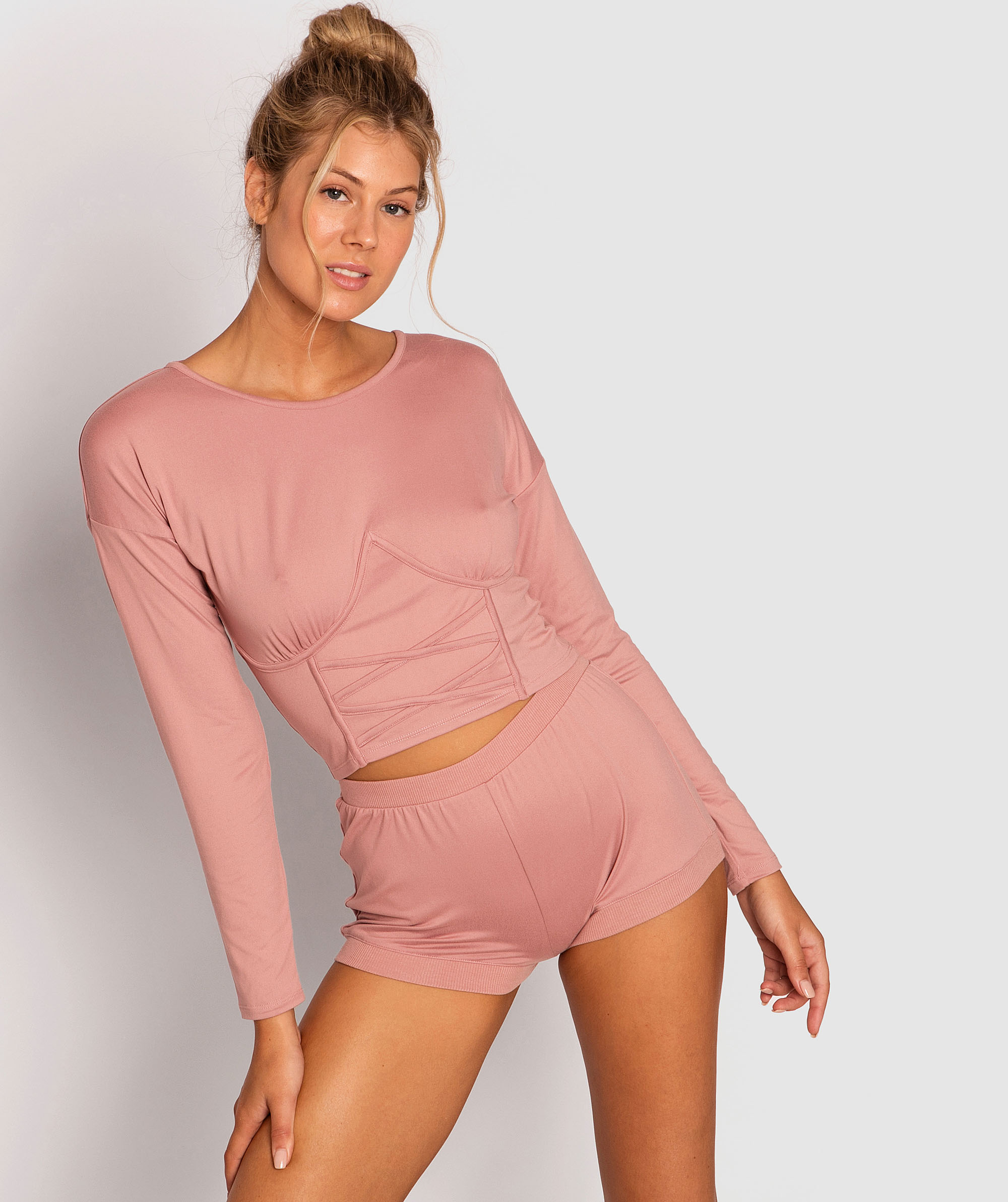 Style By Day Long Sleeve Corset - Pink