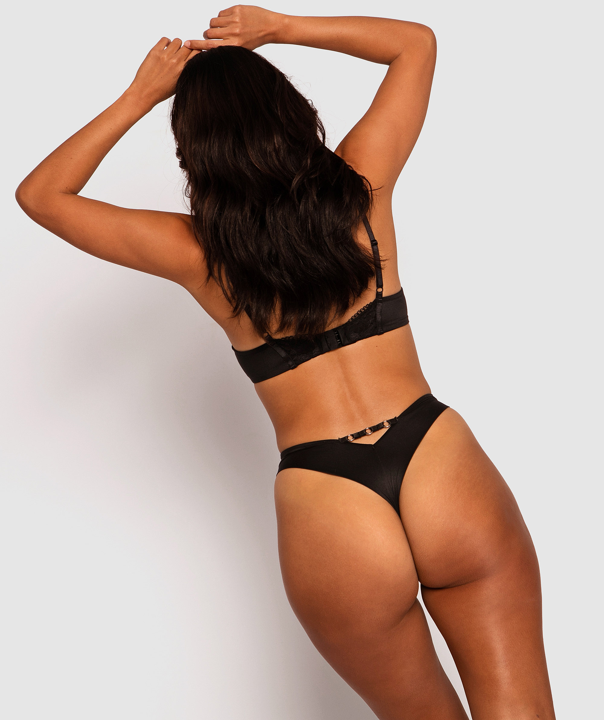 Style By Day High Waisted V- String Knicker - Black