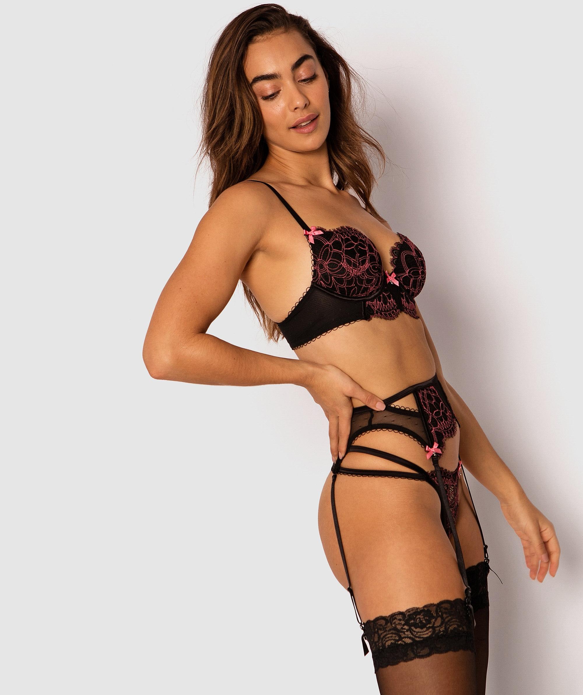 Ariana Suspender - Black/Pink