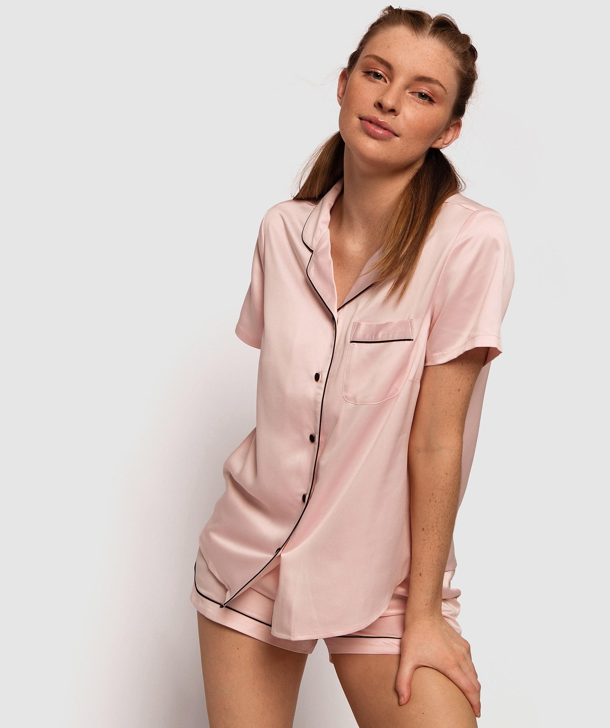 Liquid Satin Short PJ Set - Light Pink/Black
