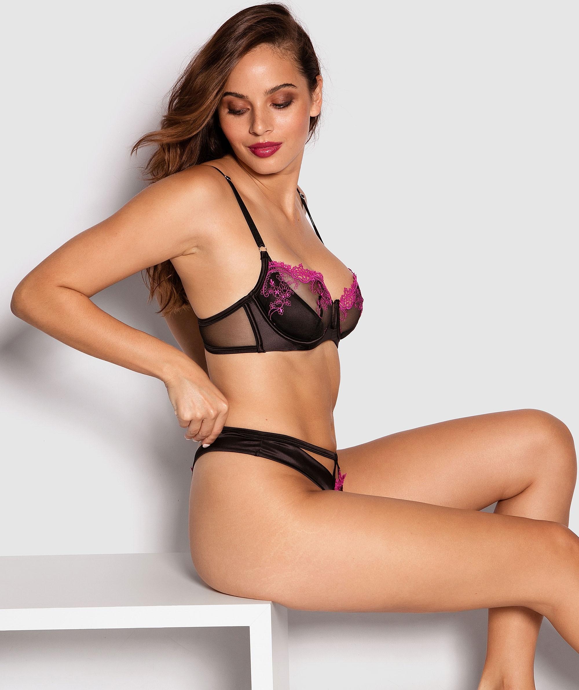 Priscella V String Knicker - Black/Pink