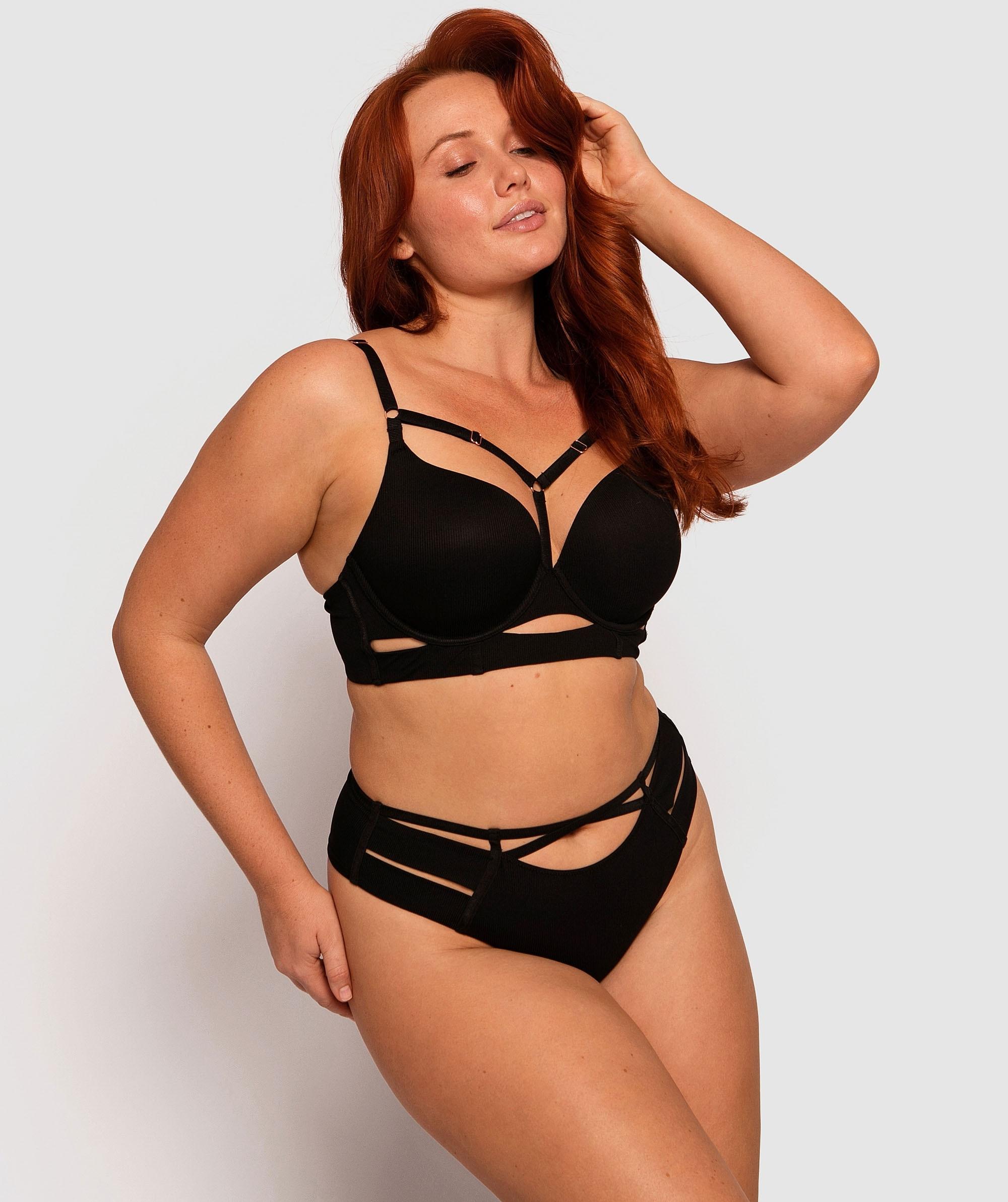 Erika High Waisted V String Knicker - Black
