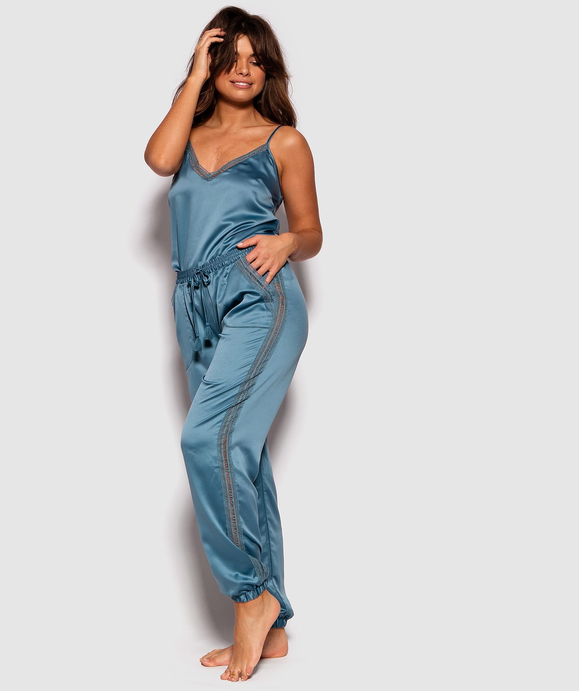 Batik Beauty Lace Trim Jogger Pants - Blue