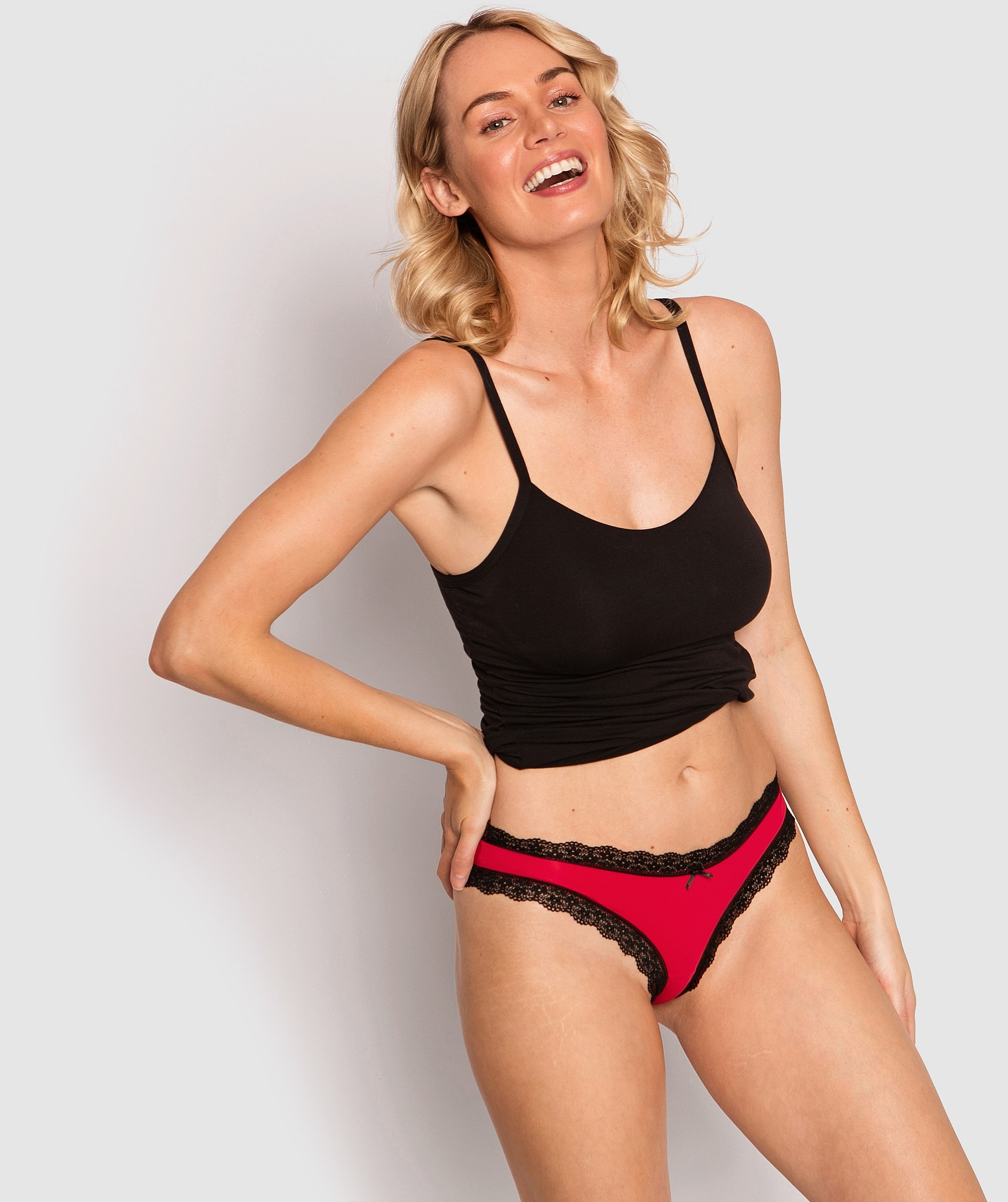 Rosy Bikini Knicker - Red/Black