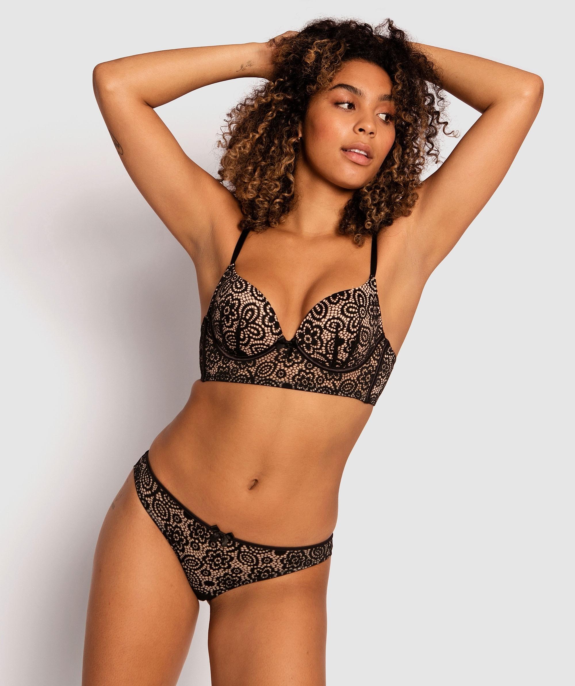 Charlotte Plunge Contour Bra - Black/Nude