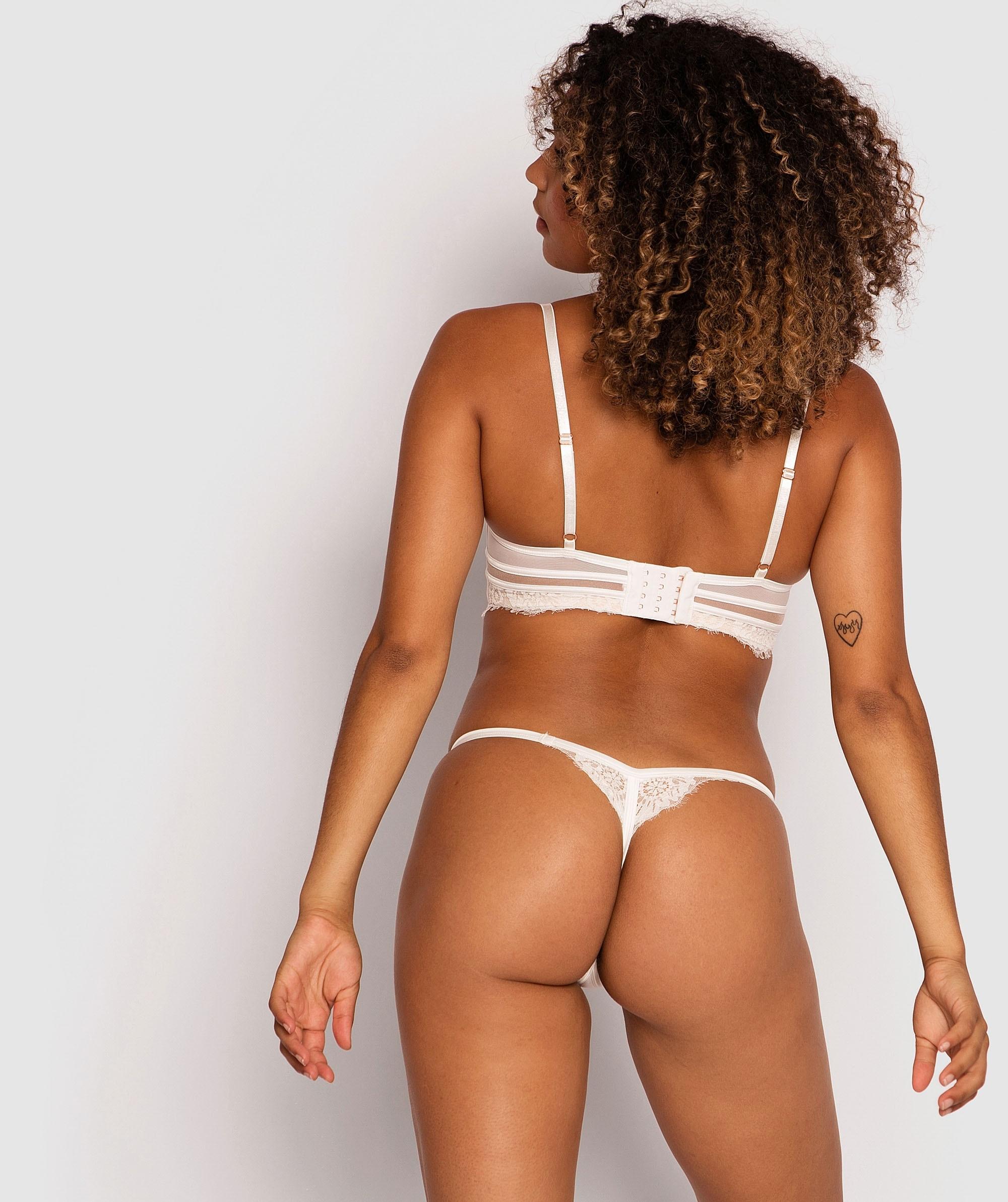 Indulge Me Mini V Knicker - Ivory/Nude