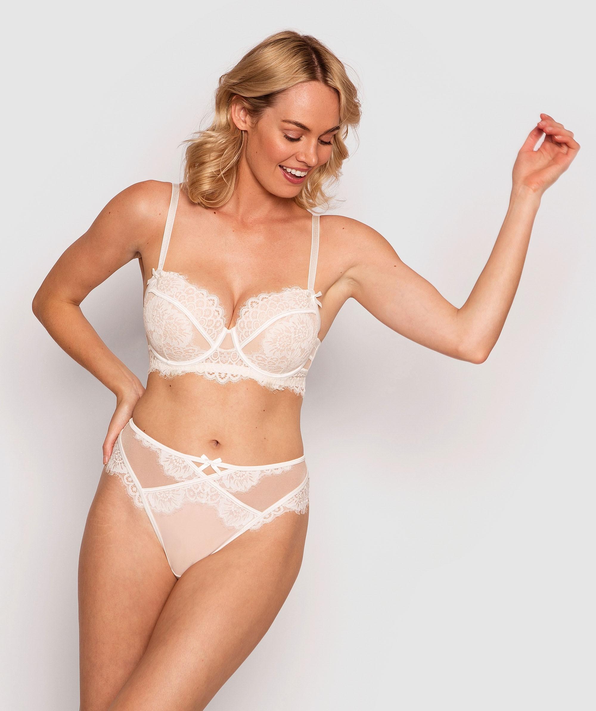 Indulge Me High Waist V String Knicker - Ivory/Nude