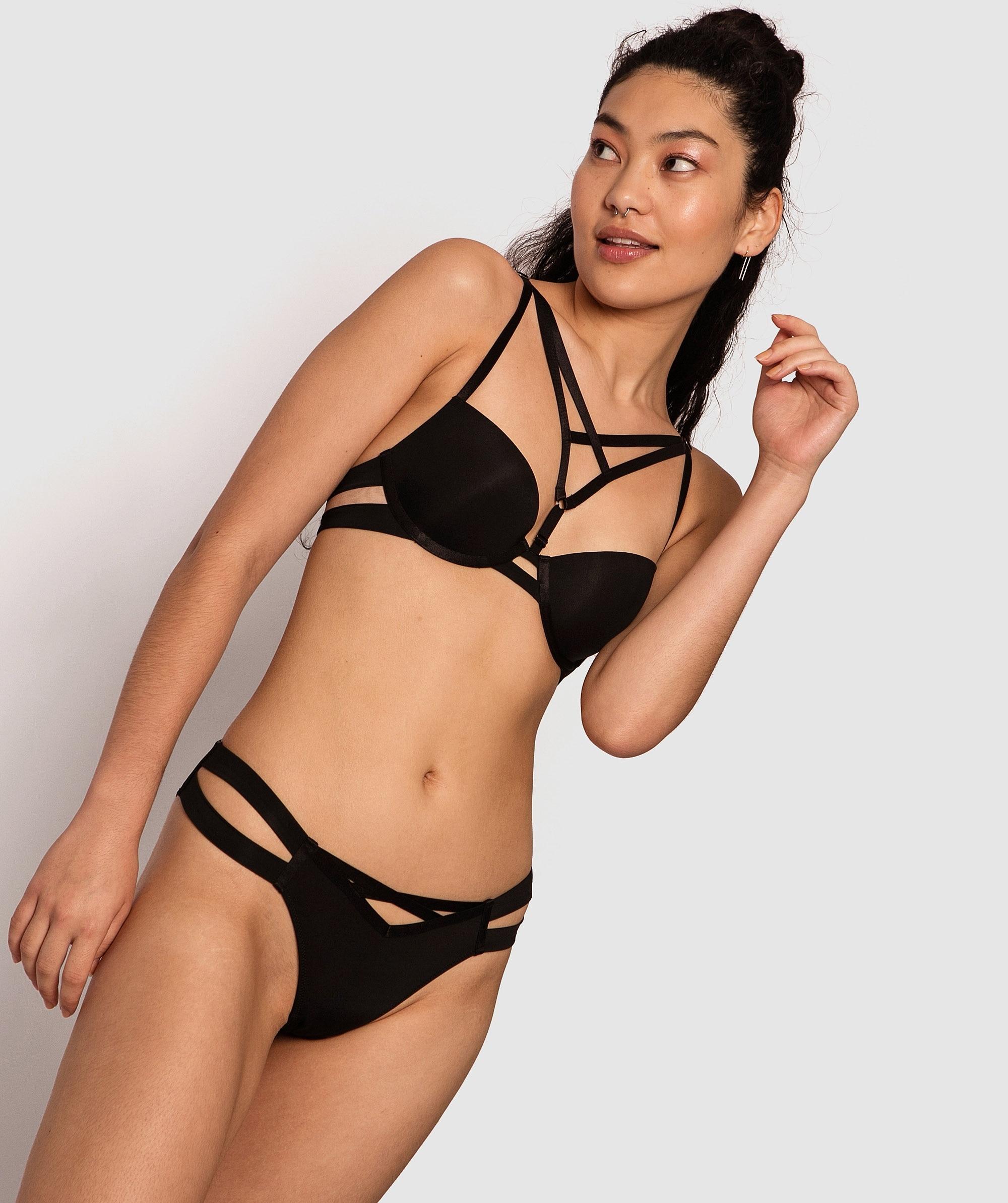 Estelle Balconette Push Up Bra - Black/Nude