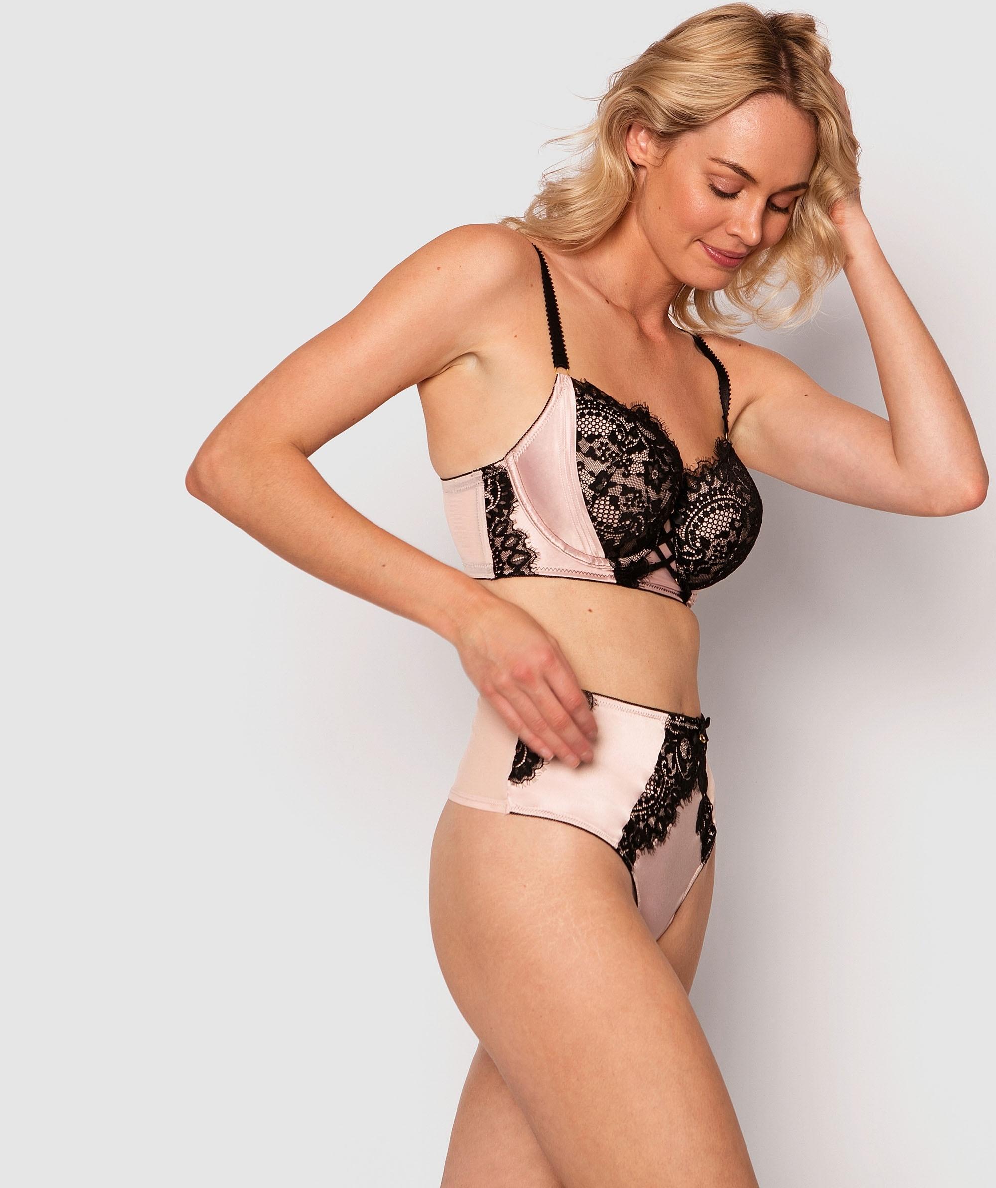 Victoria High Waist V String Knicker - Light Pink/Black