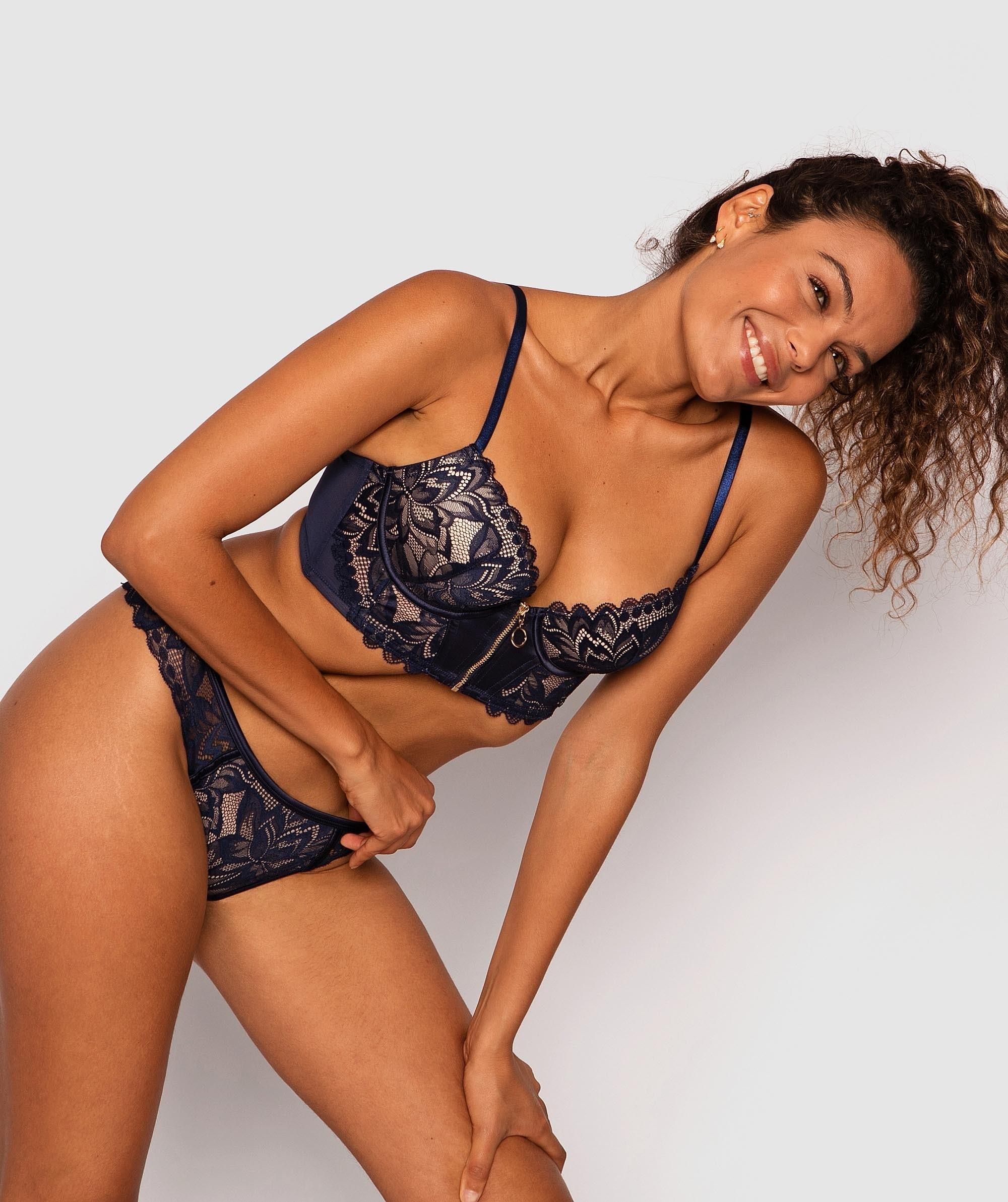 Everley Balconette Push Up Bra - Dark Blue/Nude