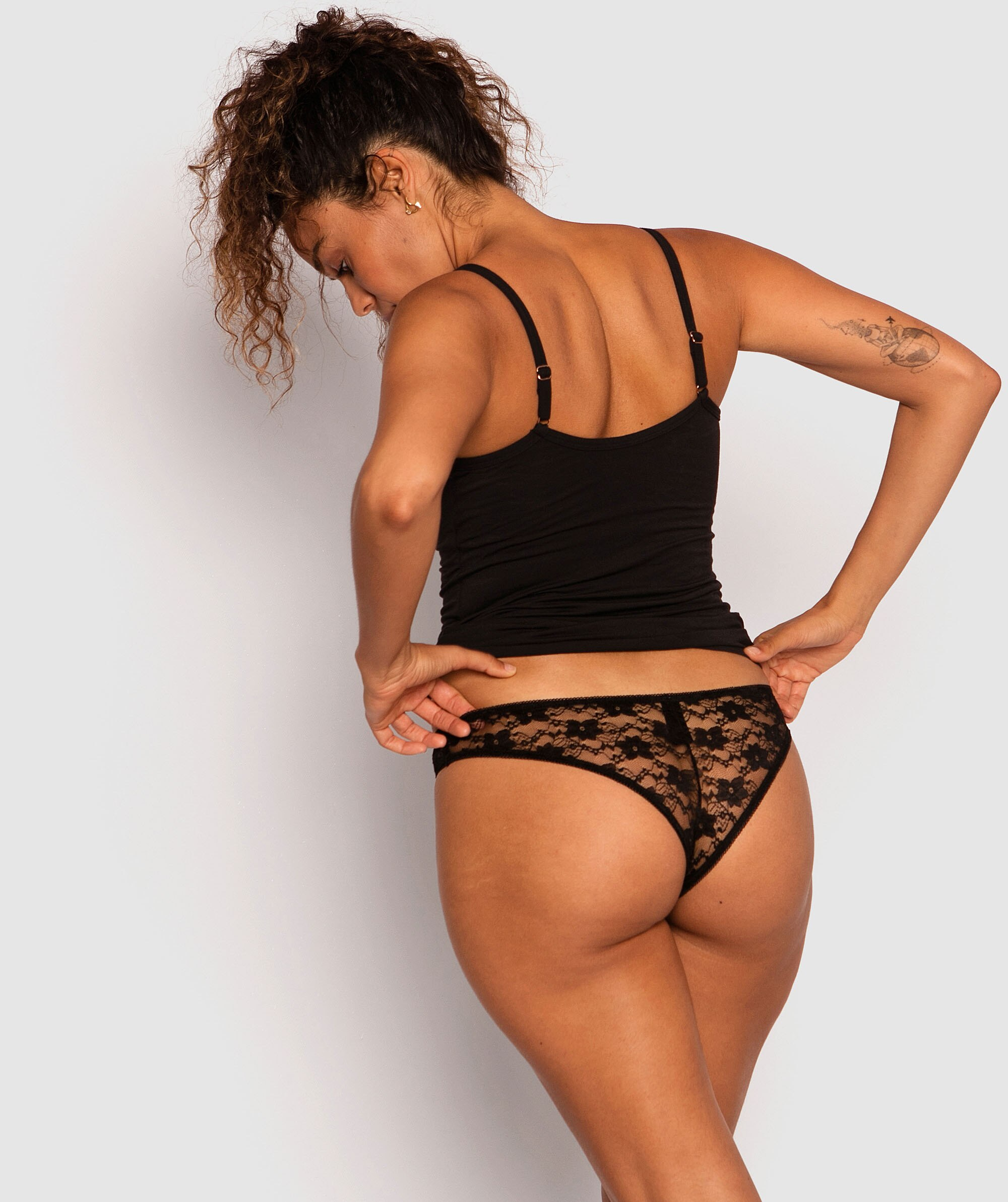 Katie V String Knicker - Black