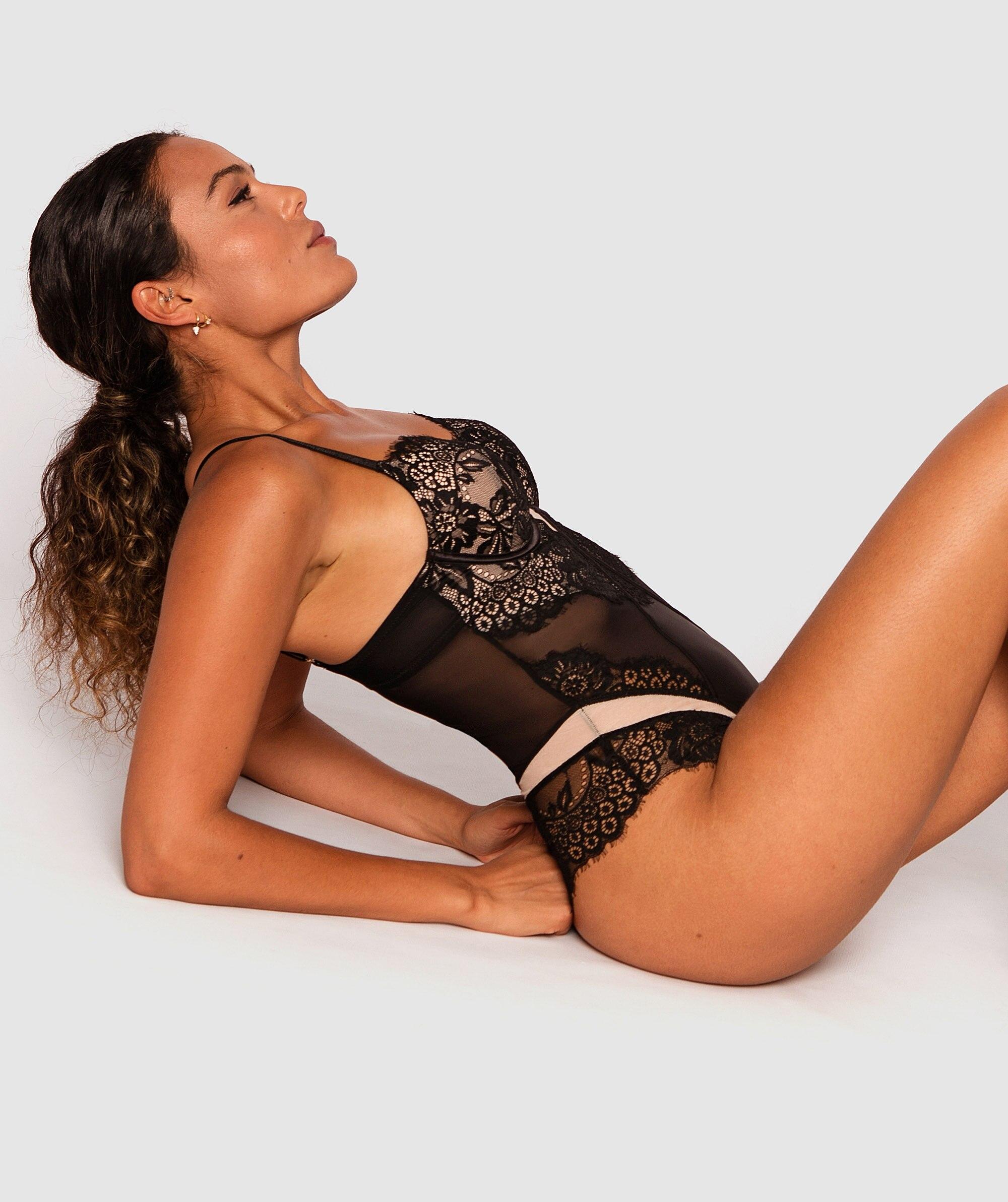 Indulge Me Plunge Contour Bodysuit - Black/Nude