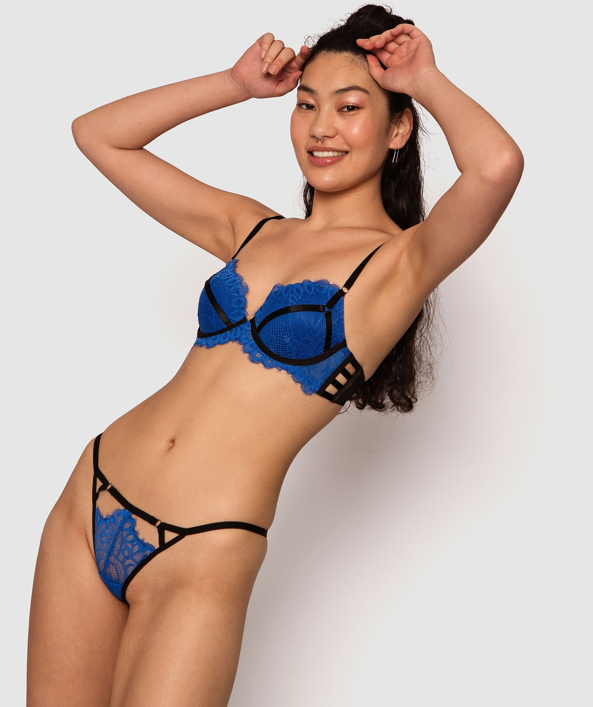 Regina Mini V Knicker - Blue/Black