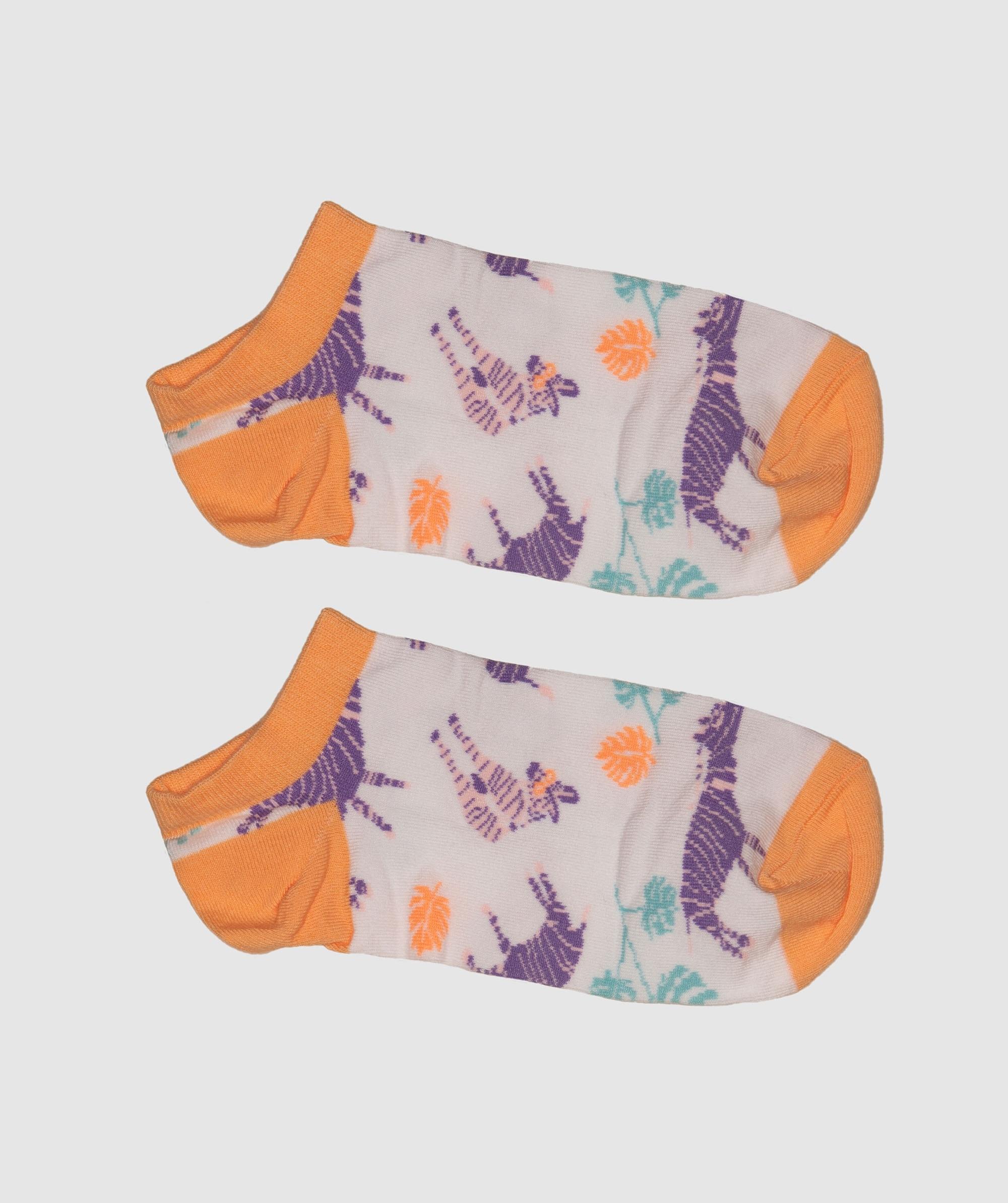 Socks In A Bag Zebra - White/Light Orange