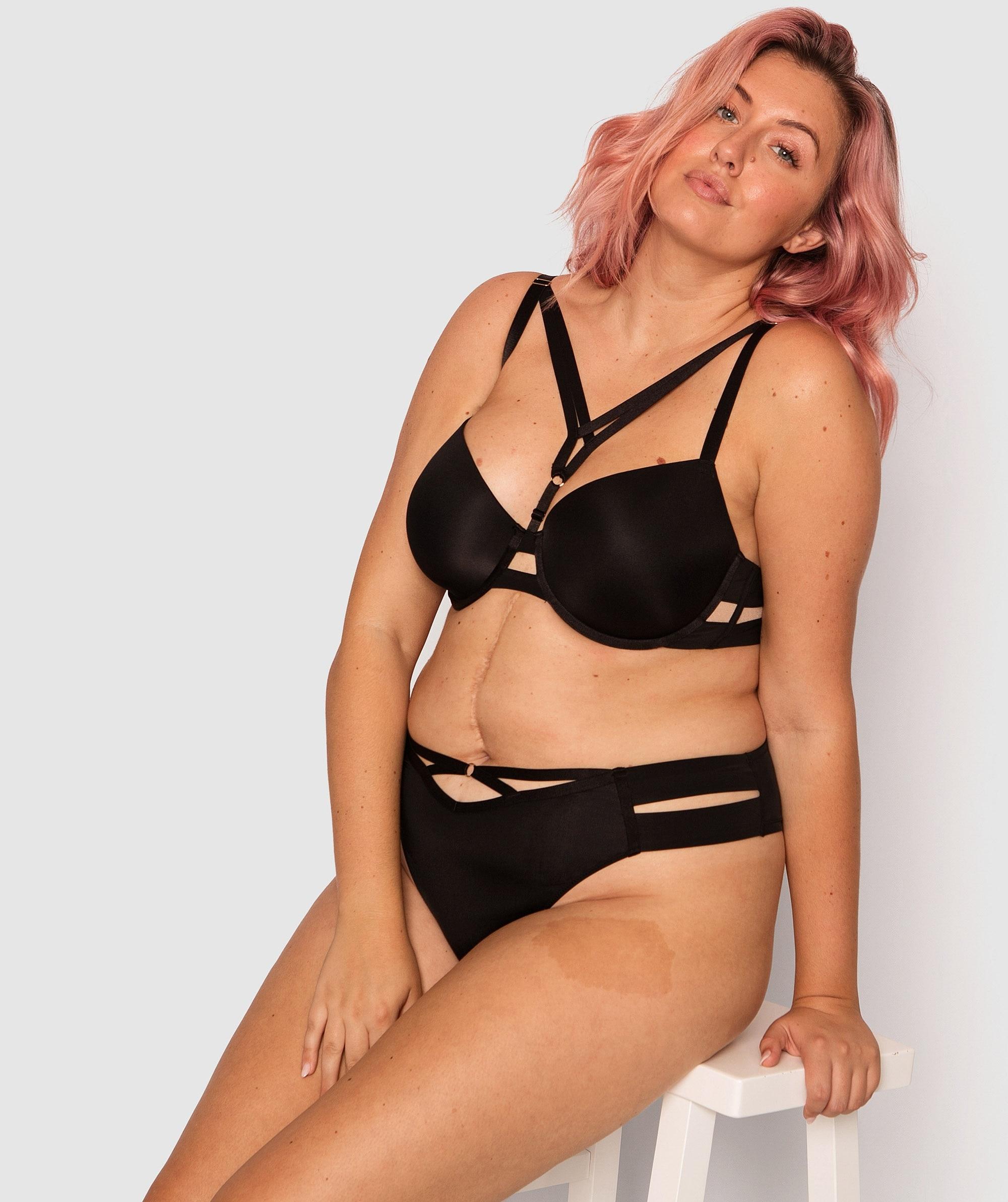 Estelle Balconette Full Cup Bra - Black/Nude