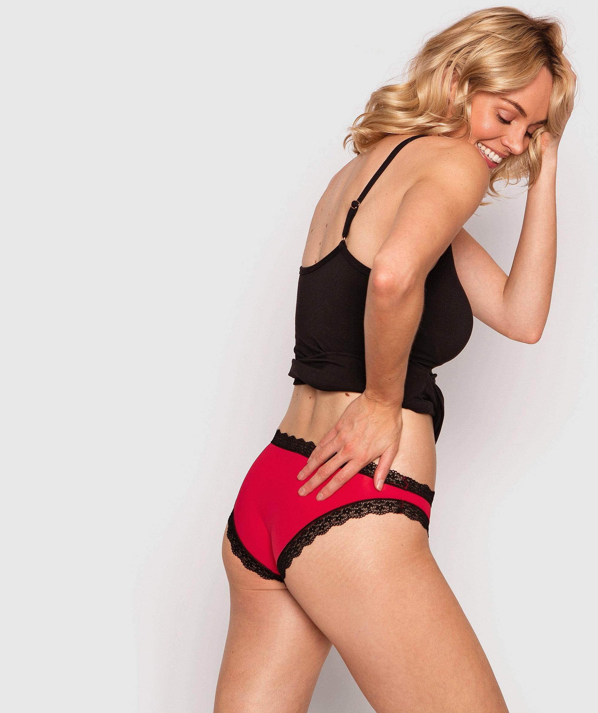 Rosy Brazilian Knicker - Red/Black