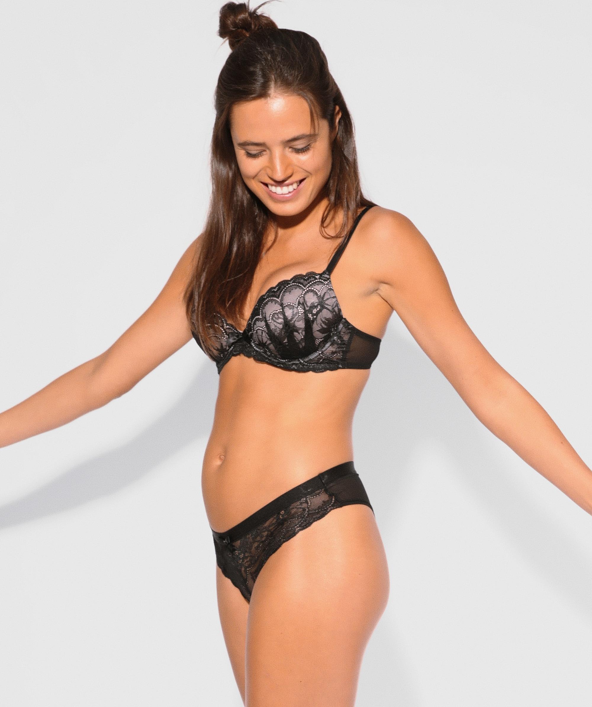 Posie Lace Brazilian Knicker - Black