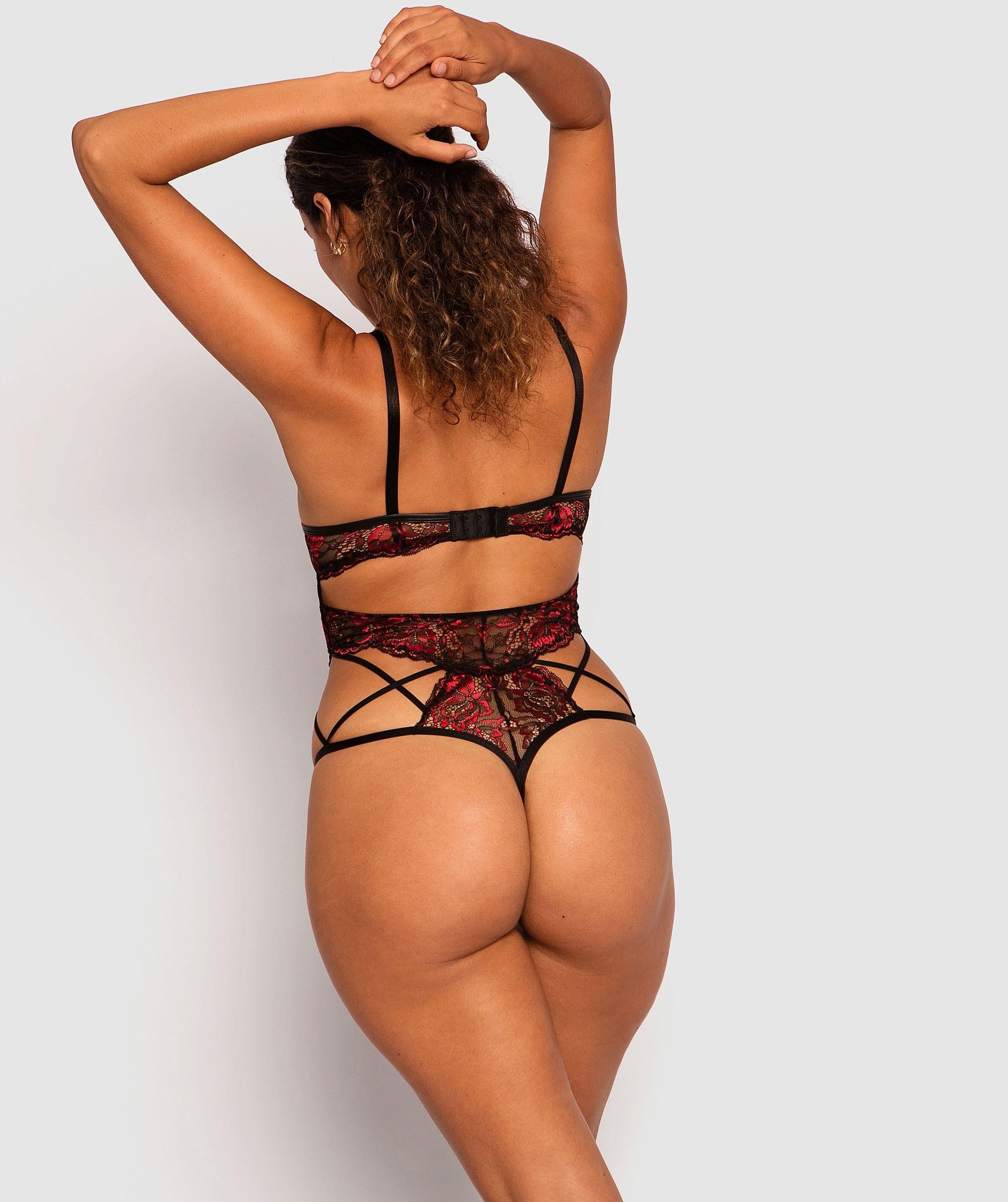 Tyra Push Up Bodysuit - Black/Red