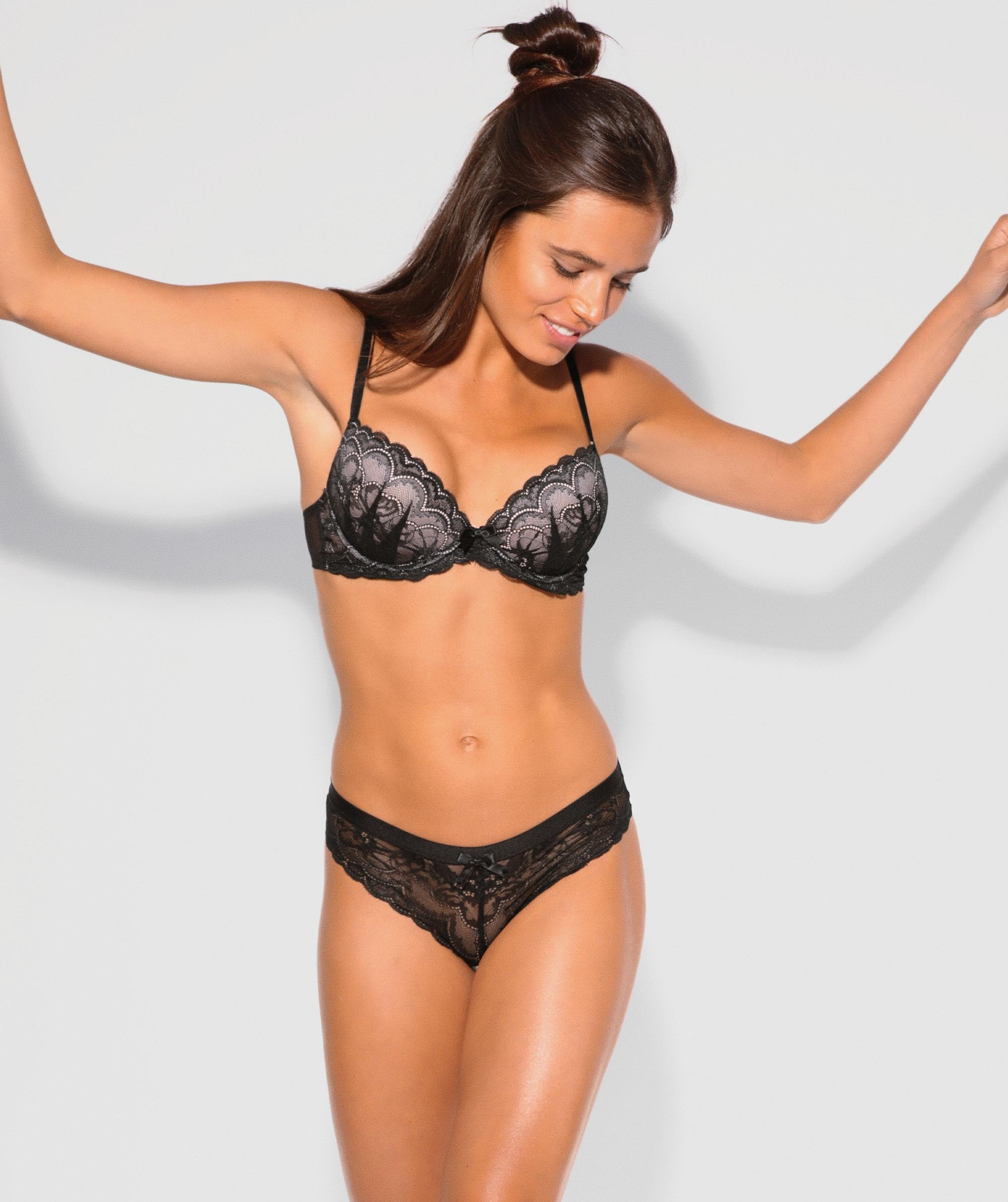 Posie Lace Push Up Bra - Black/Nude