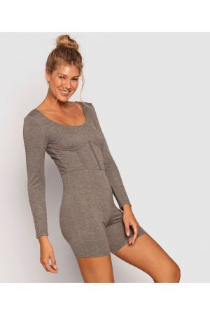 Style By Day 2-Mile Playsuit - Dark Grey