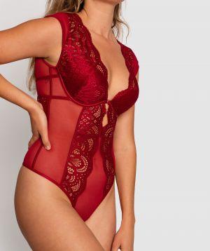 Trinity Cap Sleeve Bodysuit - Dark Red