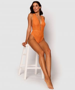 Ultra Pop Plunge Bodysuit - Orange