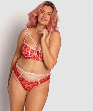Enchanted Chloe High Waisted V-String Knicker - Red/Light Pink