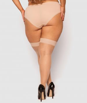 Curvy Smooth Top Stay Up Stockings - Nude 2