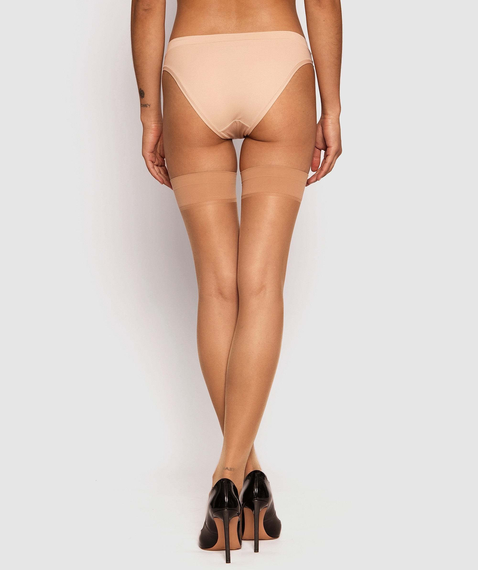 Smooth Top Stay Up Stockings - Nude 4