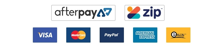 Payment Methods available : Visa, Mastercard, PayPal, Amex, Eway, Afterpay, and Gift Cards